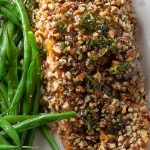 Pecan Crusted Salmon on plate with green beans
