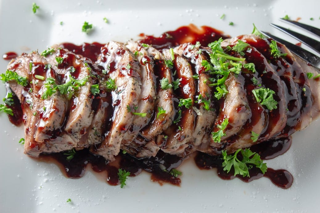 Sous Vide Pork Loin with Raspberry Balsamic Sauce