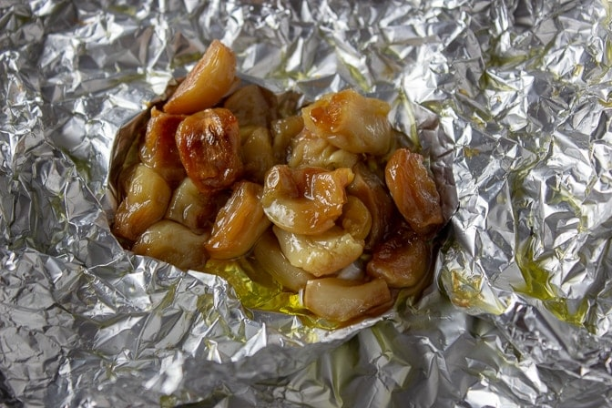 Oven Roasted Garlic wrapped in foil post-bake