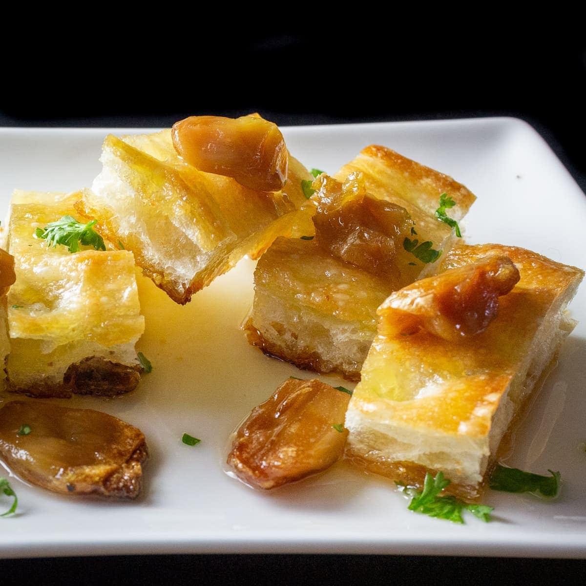 roasted garlic with focaccia