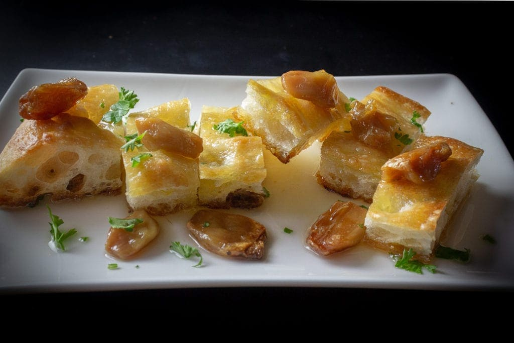 Oven Roasted Garlic on Focaccia Appetizer