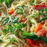 fresh vegetable pasta in pan p2