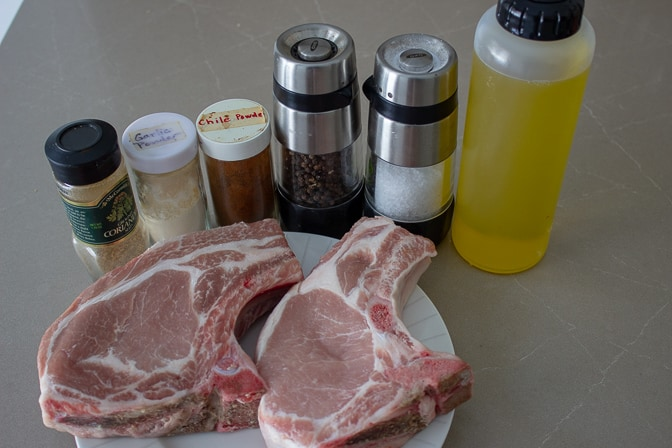 pork chops, oil, seasonings