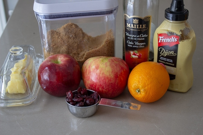 chutney ingredients -apples, orange, raisins, brown sugar, dijon, wine vinegar