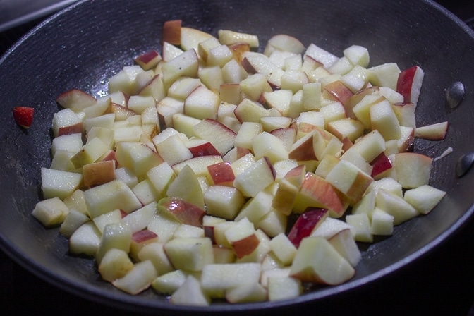 chopped apples in pan
