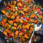 vegetarian sweet potato hash in pan p1