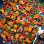 vegetarian sweet potato hash in pan p2