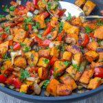 vegetarian sweet potato hash in pan p3