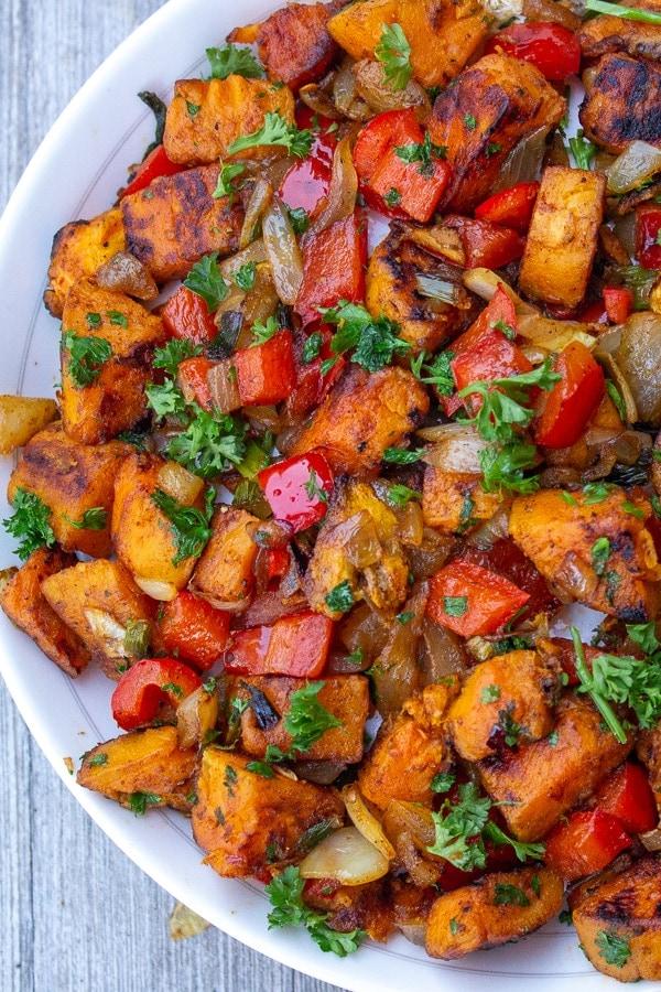 vegetarian sweet potato hash in bowl p2