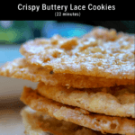 thin crispy oatmeal lace cookies stacked on plate