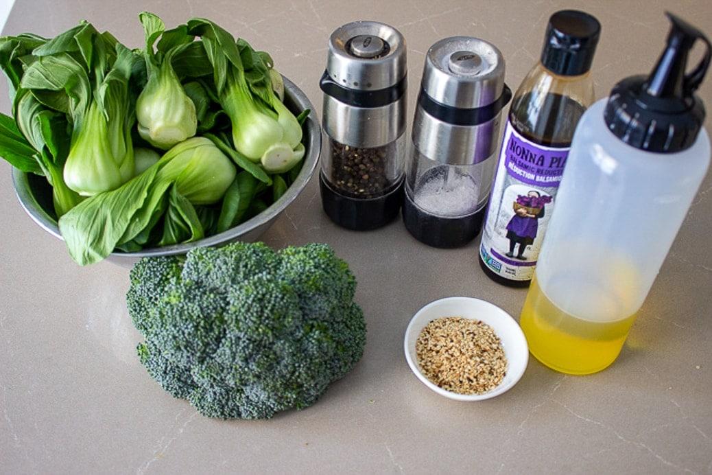 bok choy, broccoli, salt pepper, sesame seeds, olive oil, balsamic reduction