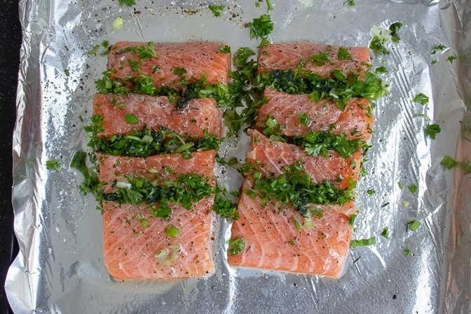 Raw Salmon Stuffed With Herbs
