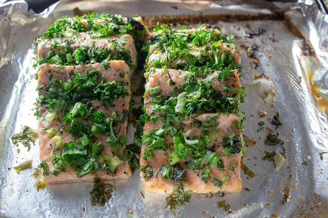 Roasted Salmon Stuffed With Herbs