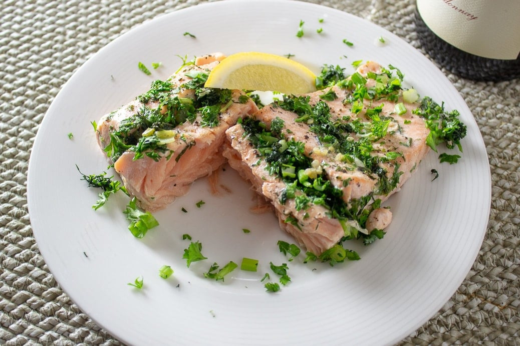 Roasted Salmon Stuffed With Herbs