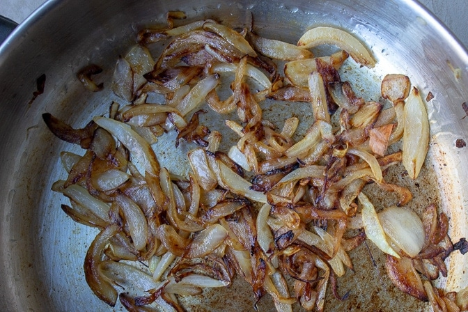 caramelized onions for Butternut Squash Salad with Warm Cinnamon Dressing