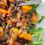 Butternut Squash Salad with Warm Cinnamon Dressing on plate