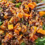 Butternut Squash Salad with Warm Cinnamon Dressing on plate f