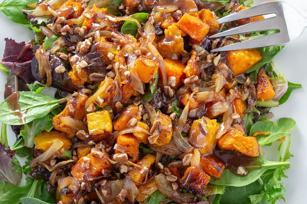 Butternut Squash Salad with Warm Cinnamon Dressing on plate f