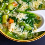 Egg Drop Soup with Vegetables in a bowl f