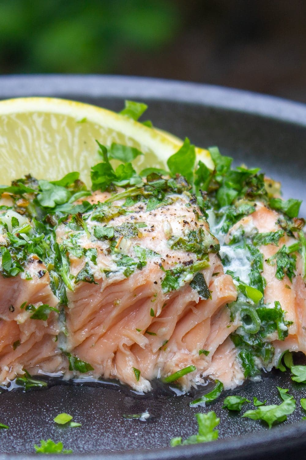 herb roasted salmon on plate with lemon p4