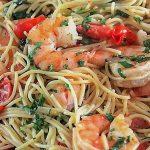 Lemon Pasta with Shrimp in serving bowl
