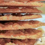 crispy, buttery Lace Cookies stacked on plate