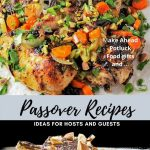Passover recipes showing a chicken dish and caramel matzo treat p1