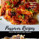 Passover recipes showing a chicken dish and caramel matzo treat p