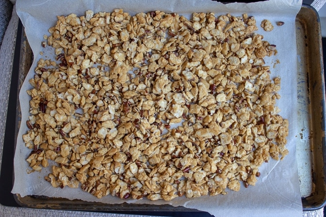 matzo crack with pecans baked in pan