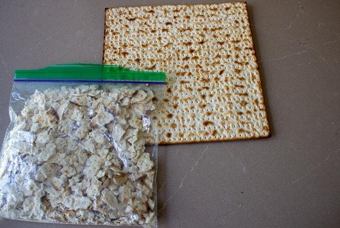 matzo board and crushed matzo in bag