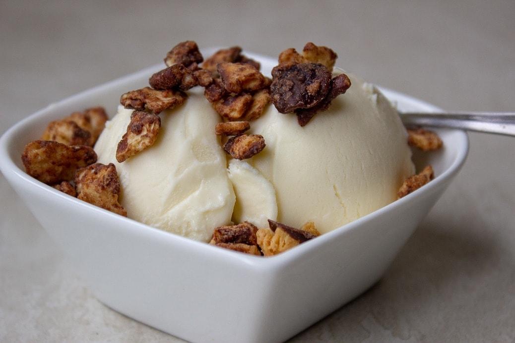 Caramel Pecan Matzo Crack on ice cream