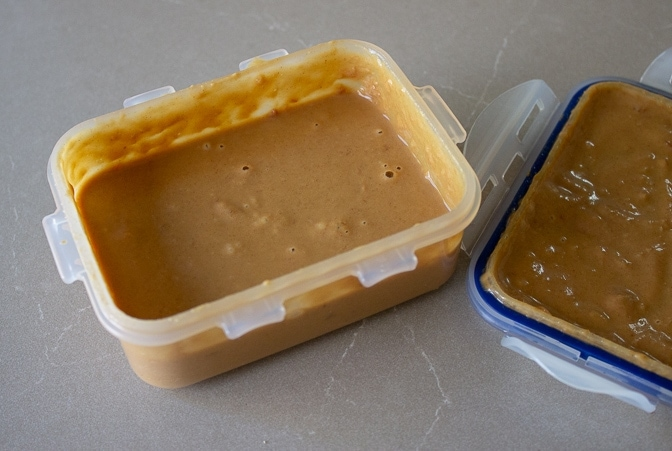 Peanut sauce in sealed container
