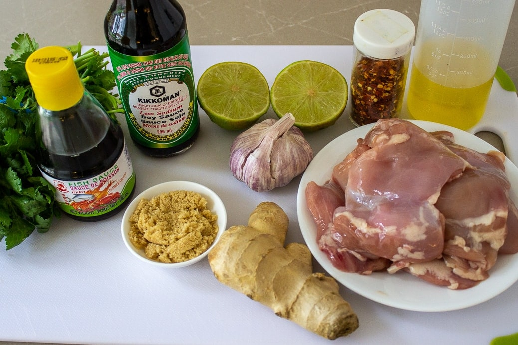 thighs, ginger, garlic, soy, fish sauce, lime oil, cilantro, red flakes