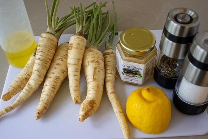 parsnips, honey, lemon, oil, salt, pepper