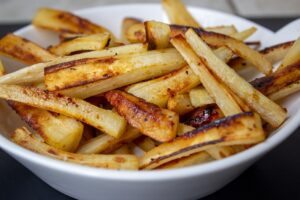 Honey Roasted Parsnips in serving bowl