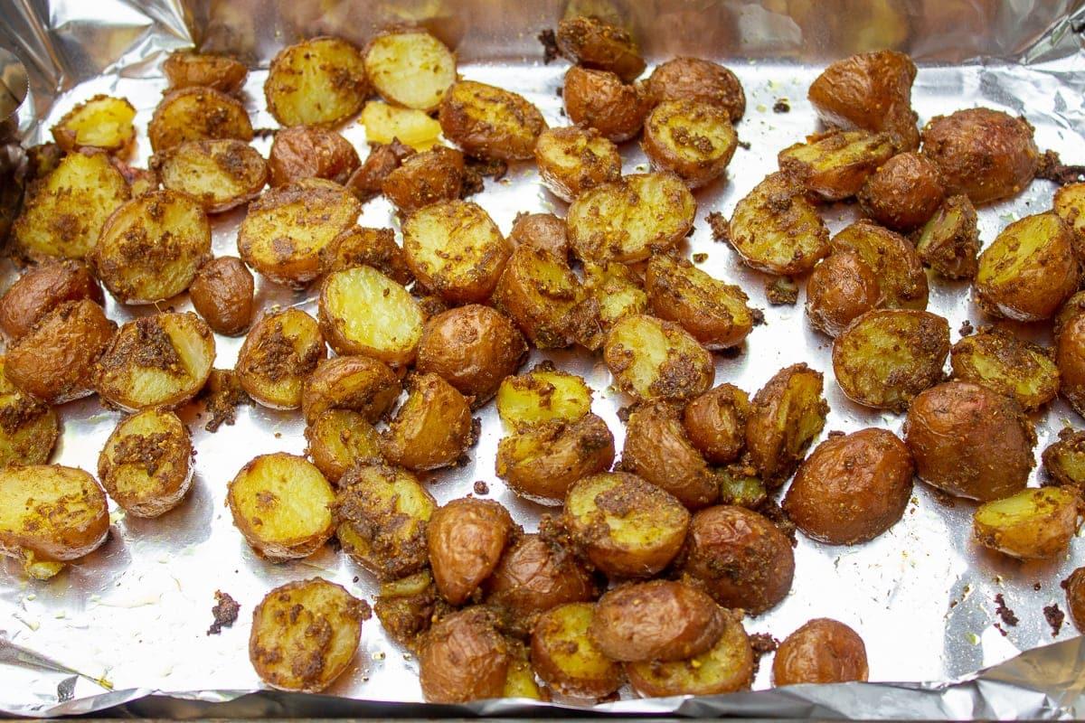 roasted indian potatoes on pan