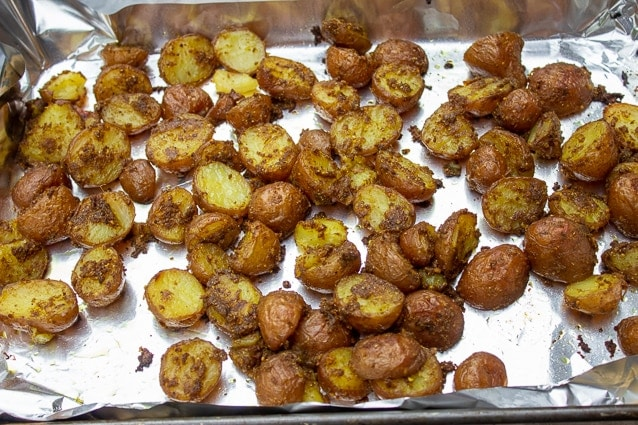 roasted Indian Potatoes on pan