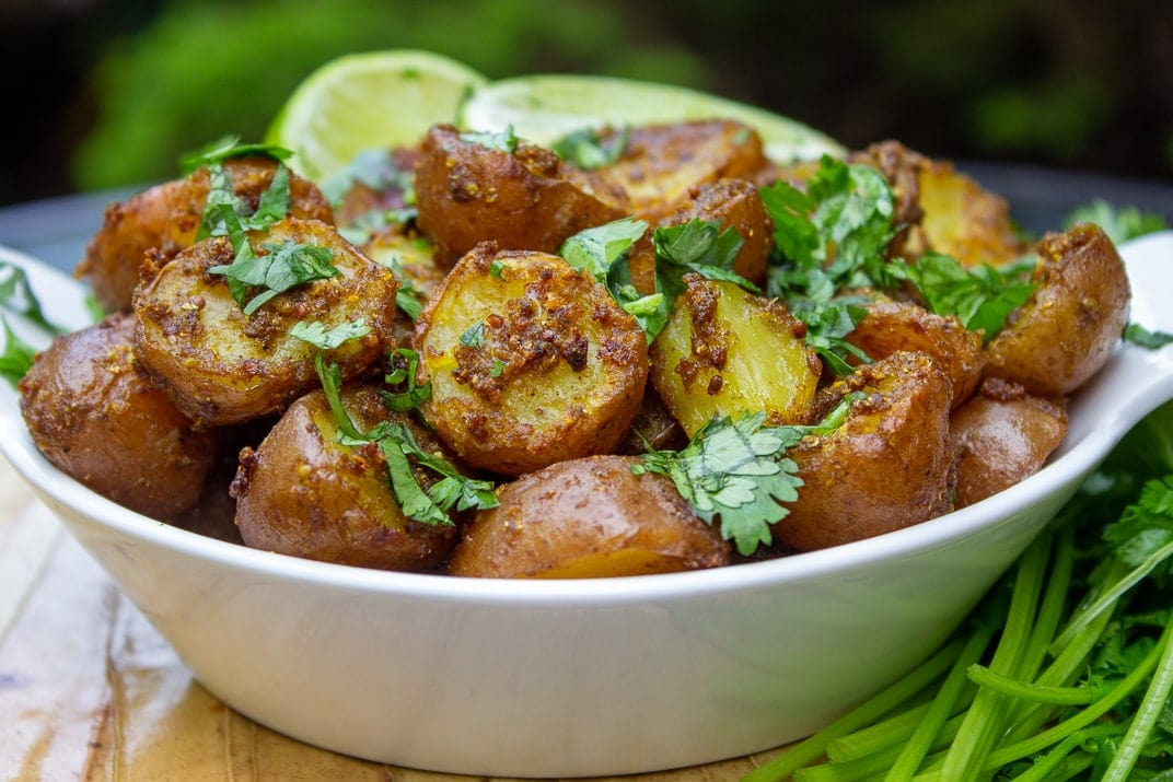 Indian Potatoes with lime and cilantro