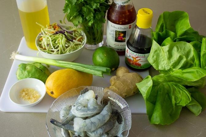 shrimp, lime, mango, avocado, broccoli slaw, garlic, ginger, green onion. cilantro, fish sauce, sweet chili sauce