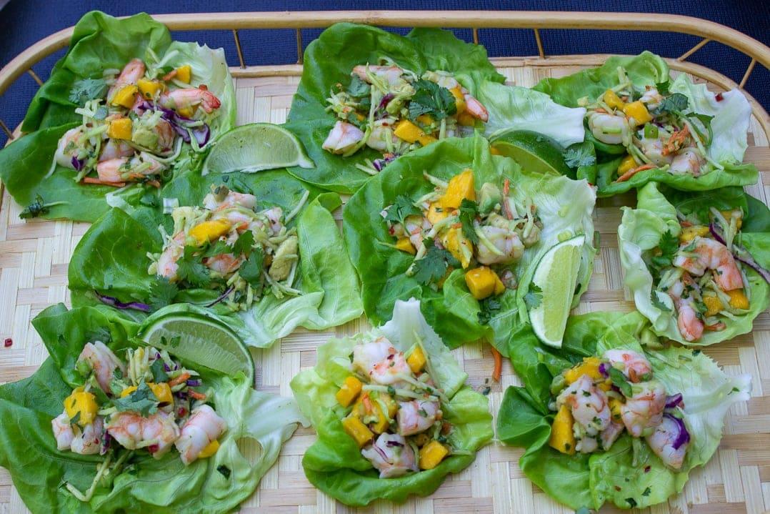 Shrimp Lettuce Wrap with Mango Slaw on tray 2