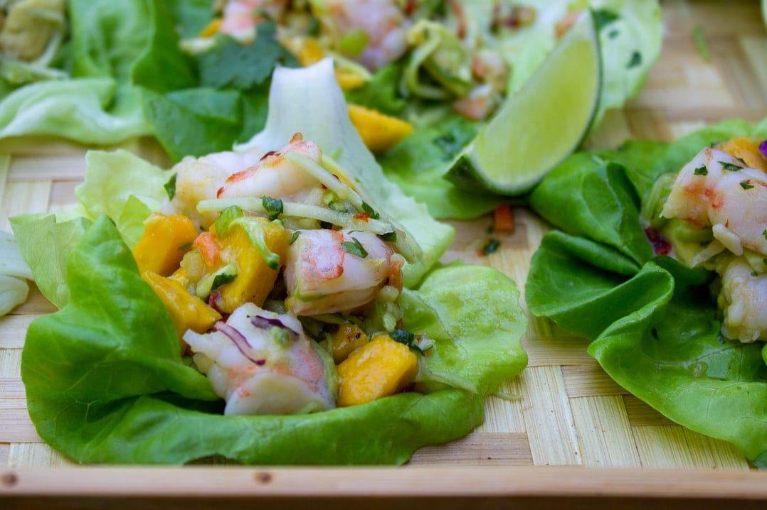 Shrimp Lettuce Wrap with Mango Slaw on tray
