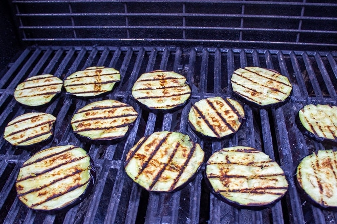 Eggplant on Grill for Eggplant Parmesan