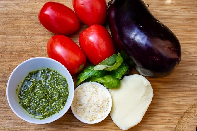 eggplant, plum tomatoes, pesto, fresh basil, mozzarella, Parmesan