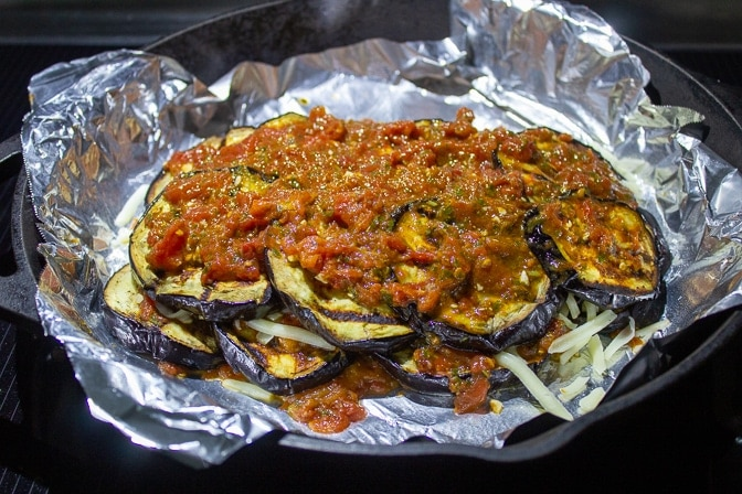Assembled Eggplant Parmesan on pan (not cheese on top yet)