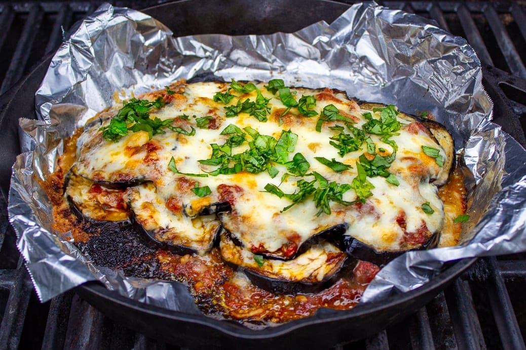 Eggplant Parmesan baked on Grill