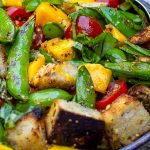 Bread Salad with Charred Snap Peas in a bowl p1