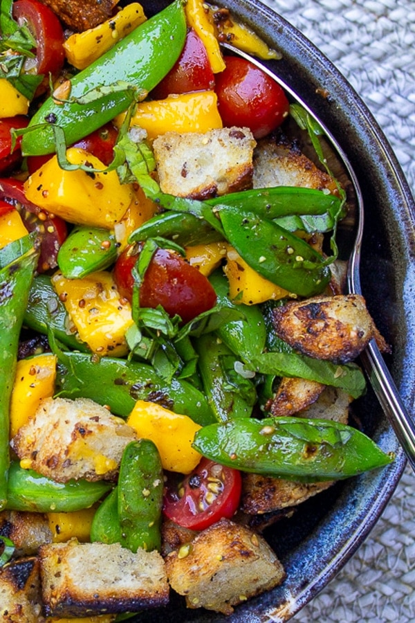 Bread Salad with Charred Snap Peas in a bowl p
