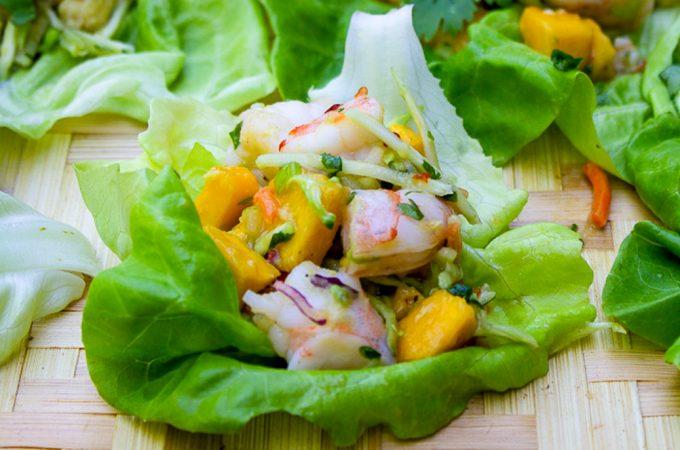 Shrimp Lettuce Wrap with Mango Slaw close up on tray