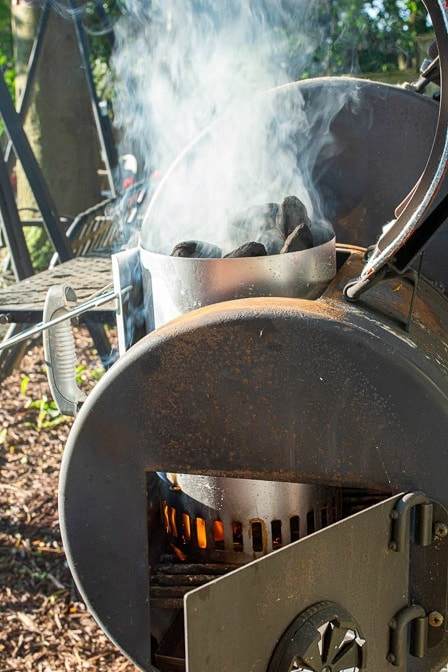 smoker lit for smoked brisket