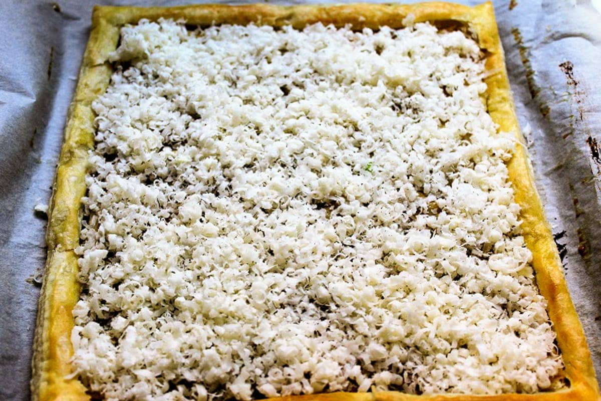 cheese on puff pastry tart